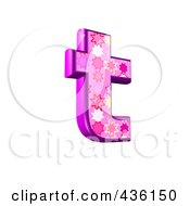 Royalty Free RF Clipart Illustration Of A 3d Pink Burst Symbol Lowercase Letter T by chrisroll
