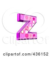 Royalty Free RF Clipart Illustration Of A 3d Pink Burst Symbol Lowercase Letter Z by chrisroll