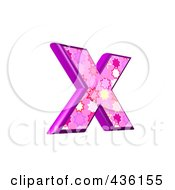 Royalty Free RF Clipart Illustration Of A 3d Pink Burst Symbol Lowercase Letter X by chrisroll