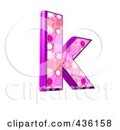 Royalty Free RF Clipart Illustration Of A 3d Pink Burst Symbol Lowercase Letter K by chrisroll