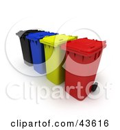 Clipart Illustration Of A 3d Row Of Black Blue Yellow And Red Rolling Trash Cans by Frank Boston