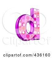 Royalty Free RF Clipart Illustration Of A 3d Pink Burst Symbol Lowercase Letter D by chrisroll