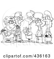Royalty Free RF Clipart Illustration Of A Line Art Design Of A Group Of Ladies From Different Occupations by toonaday
