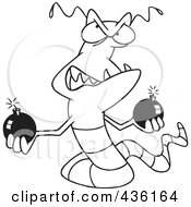 Royalty Free RF Clipart Illustration Of A Line Art Design Of A Worm Virus Holding Bombs