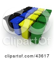 Clipart Illustration Of Rows Of Rolling 3d Black Blue Yellow And Green Trash Cans by Frank Boston