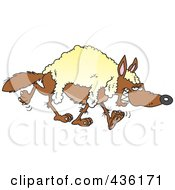 Royalty Free RF Clipart Illustration Of A Wolf Wearing Wool by toonaday