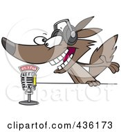 Royalty Free RF Clipart Illustration Of A Radio Wolf Talking Into A Microphone by toonaday