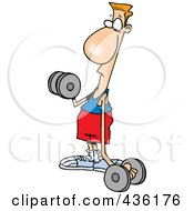 Royalty Free RF Clipart Illustration Of A Flimsy Armed Man Lifting Weights by toonaday