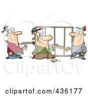 Royalty Free RF Clipart Illustration Of A Work Crew At A Construction Site by toonaday