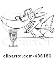 Royalty Free RF Clipart Illustration Of A Line Art Design Of A Radio Wolf Talking Into A Microphone by toonaday