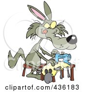 Royalty Free RF Clipart Illustration Of A Wolf Sewing A Sheep Costume