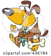 Royalty Free RF Clipart Illustration Of A Business Dog Carrying A Bone Briefcase