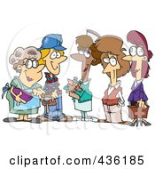 Royalty Free RF Clipart Illustration Of A Group Of Ladies From Different Occupations by toonaday