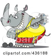 Royalty Free RF Clipart Illustration Of A Workout Rhino Using A Stretching Device by toonaday