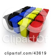 Clipart Illustration Of 3d Black Blue Yellow And Red Rolling Trash And Recycle Bins In A Row