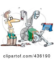 Royalty Free RF Clipart Illustration Of A Man Staring At His Messy Workout Space by toonaday