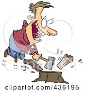 Royalty Free RF Clipart Illustration Of A Happy Man Chopping Wood