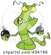 Royalty Free RF Clipart Illustration Of A Worm Virus Holding Bombs