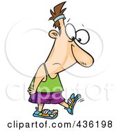 Royalty Free RF Clipart Illustration Of A Sad Man Walking In Worn Shoes by toonaday