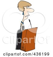 Royalty Free RF Clipart Illustration Of A Female Speaker At A Podium by Ron Leishman