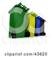 Clipart Illustration Of A Row Of 3d Rolling Trash And Recycle Cans
