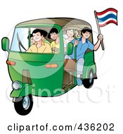 Royalty Free RF Clipart Illustration Of A Green Tuk Tuk Packed Full Of Kids One Leaning Out And Holding A Thai Flag by Lal Perera