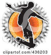 Royalty Free RF Clipart Illustration Of A Silhouetted Skateboarder Over A Tribal Sun