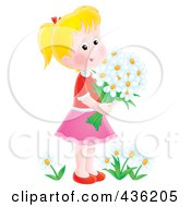 Royalty Free RF Clipart Illustration Of A Happy Girl Picking Daisy Flowers