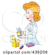 Royalty Free RF Clipart Illustration Of A Cartoon Female Pharmacist Packaging A Prescription by Alex Bannykh
