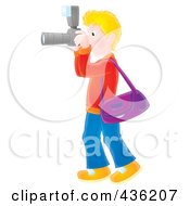 Royalty Free RF Clipart Illustration Of A Blond Man Taking Pictures With A Camera by Alex Bannykh