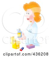 Royalty Free RF Clipart Illustration Of A Female Pharmacist Packaging A Prescription by Alex Bannykh