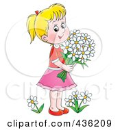 Royalty Free RF Clipart Illustration Of A Cartoon Girl Picking Daisy Flowers