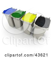 Clipart Illustration Of 3d Rolling Trash Cans With Multi Colored Lids by Frank Boston