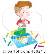 Royalty Free RF Clipart Illustration Of A Happy Boy Coloring A Sail Boat by Alex Bannykh