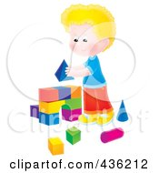 Royalty Free RF Clipart Illustration Of A Blond Boy Building An Arch With Toy Blocks