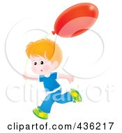 Royalty Free RF Clipart Illustration Of A Happy Boy Running With A Red Balloon by Alex Bannykh