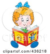 Royalty Free RF Clipart Illustration Of A Cartoon Girl Reading A Story Book