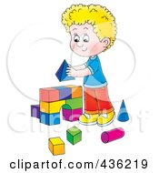 Royalty Free RF Clipart Illustration Of A Cartoon Blond Boy Building An Arch With Toy Blocks