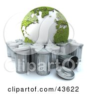 Clipart Illustration Of A Green Recycled 3d Globe Being Thrown Away by Frank Boston