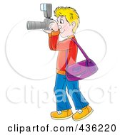 Royalty Free RF Clipart Illustration Of A Cartoon Blond Man Taking Pictures With A Camera by Alex Bannykh
