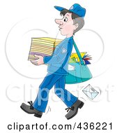 Cartoon Mail Man Carrying A Stack Of Paper