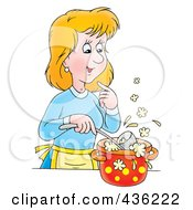 Royalty Free RF Clipart Illustration Of A Cartoon Woman Cooking Soup by Alex Bannykh