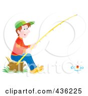 Royalty Free RF Clipart Illustration Of A Boy Sitting On A Stump And Fishing