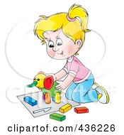 Royalty Free RF Clipart Illustration Of A Cartoon Girl Playing With A Clay Elephant
