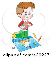 Royalty Free RF Clipart Illustration Of A Cartoon Happy Boy Coloring A Sail Boat by Alex Bannykh