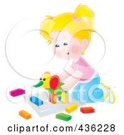 Royalty Free RF Clipart Illustration Of A Happy Girl Playing With A Clay Elephant