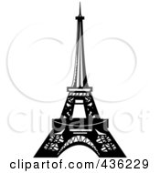 Royalty Free RF Clipart Illustration Of A Black And White Design Of The Eiffel Tower by Pams Clipart