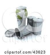 Clipart Illustration Of A Green Recycled 3d Globe On A Trash Can With A Lid On Top