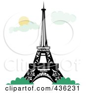 Royalty Free RF Clipart Illustration Of The Eiffel Tower With Bushes Against A Sky With Clouds