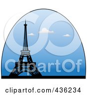 Royalty Free RF Clipart Illustration Of The Eiffel Tower In A Blue Half Oval With Clouds